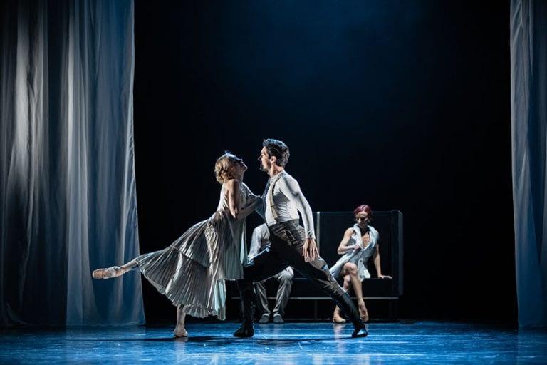 Veliki Gatsby: Tjaša Kmetec, Petar Đorčevski in Rita Pollacchi; foto: Darja Stravs Tisu; vir: SNG Opera in balet Ljubljana